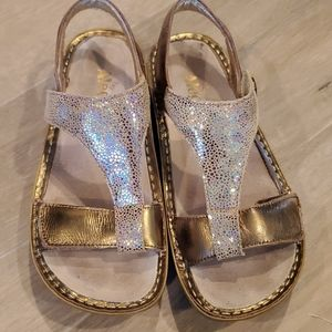 Alegria Shoes - Alegria  Gold Wedge Sandals Style KEN 680